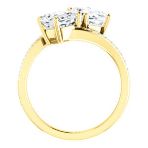 Cubic Zirconia Engagement Ring- The Phoebe (Customizable Enhanced 2-stone Double Asscher Cut Design With Round Pavé Band)