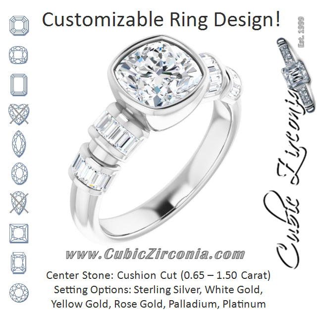 Cubic Zirconia Engagement Ring- The Astrid (Customizable Bezel-set Cushion Cut Design with Quad Horizontal Band Sleeves of Baguette Accents)
