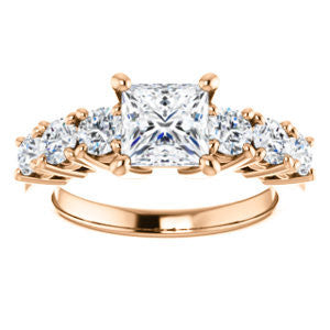 Cubic Zirconia Engagement Ring- The Mysti (Customizable Princess Cut Seven-stone Design with Round Prong Accents)