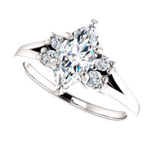 Cubic Zirconia Engagement Ring- The Bianca (Customizable 5-stone Cluster Style with Marquise Cut Center)