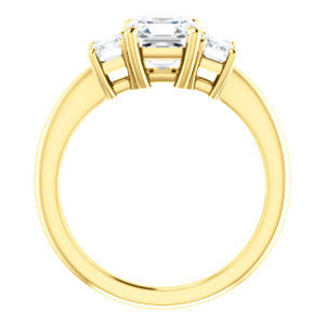 Cubic Zirconia Engagement Ring- The Andrea (Customizable Asscher Cut 3-stone with Dual Emerald Cut Accents)