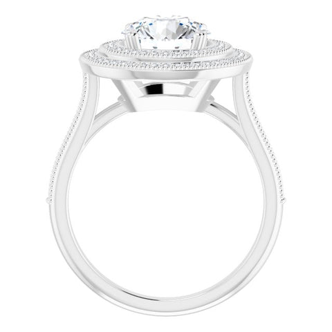14K Rose & White Gold Customizable Round Cut Design with Elegant Double Halo, Houndstooth Milgrain and Band-Channel Accents