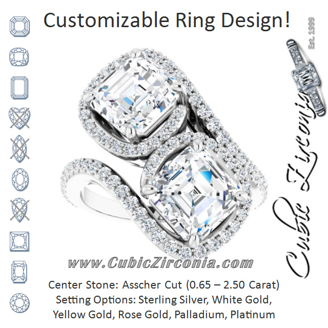 Cubic Zirconia Engagement Ring- The Anushka (Customizable Double Asscher Cut 2-Stone Style Enhanced with Accented Artisan Bypass Band)