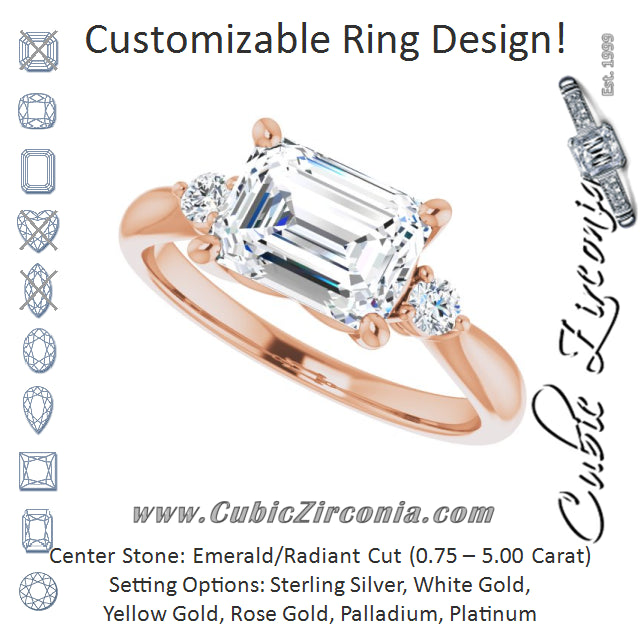 Cubic Zirconia Engagement Ring- The Amariah (Customizable 3-stone Emerald Cut Design with Twin Petite Round Accents)
