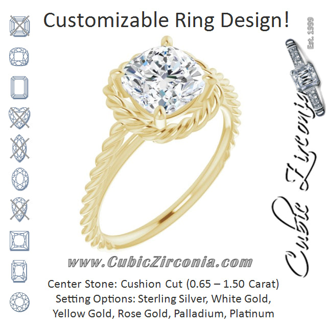 Cubic Zirconia Engagement Ring- The Carrington (Customizable Cathedral-set Cushion Cut Solitaire with Thin Rope-Twist Band)