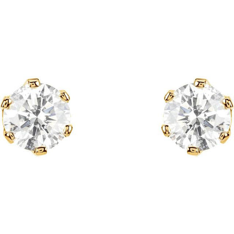 Cubic Zirconia Earrings- 1.0 Carat CZ 6-Prong Screw Back Stud Earring Set