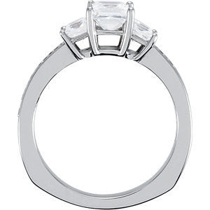 Cubic Zirconia Engagement Ring- The DeeAnne (3-Stone Triple Princess Cut Design with Princess Channel Accents)