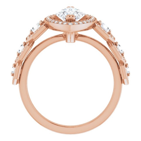 10K Rose Gold Customizable Cathedral-Halo Marquise Cut Design with Six Halo-surrounded Asscher Cut Accents and Ultra-wide Band