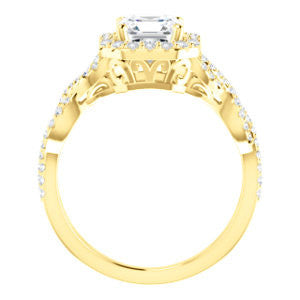 Cubic Zirconia Engagement Ring- The Benita (Customizable Asscher Cut with Infinity Split-band Pavé and Halo)