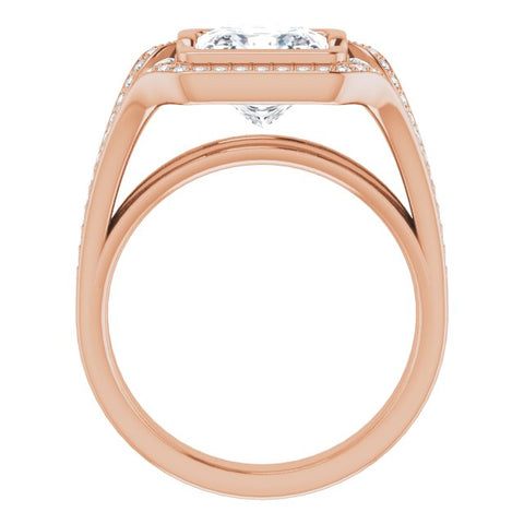 10K Rose Gold Customizable Cathedral-Bezel Princess/Square Cut Design with Wide Triple-Split-Pavé Band