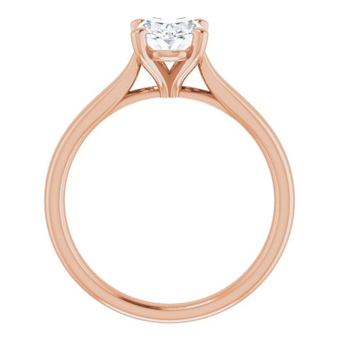 10K Rose Gold Customizable Cathedral-Prong Oval Cut Solitaire