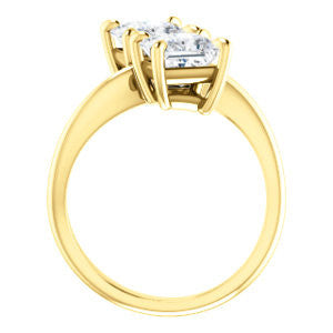 Cubic Zirconia Engagement Ring- The Patti (Customizable Princess Cut 2-stone Bypass Style)