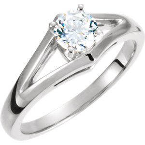 Cubic Zirconia Engagement Ring- The Kathy (Customizable Split-Band Solitaire with Raised Setting)