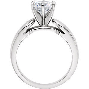 Cubic Zirconia Engagement Ring- The Kristal (Customizable Solitaire with Wide 3D Rounded Band)