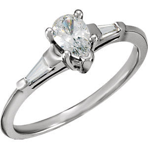 Cubic Zirconia Engagement Ring- The Camelia (3-Stone Design with Pear Cut Center and Dual Baguette Accents)