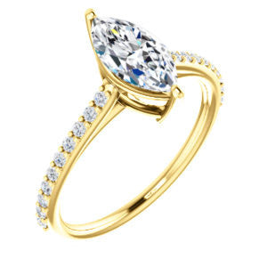 Cubic Zirconia Engagement Ring- The Tanisha (Customizable Cathedral-set Marquise Cut Design with Thin Pavé Band)
