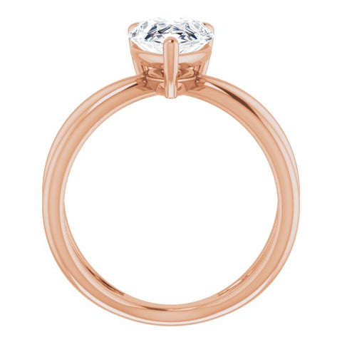 10K Rose Gold Customizable Pear Cut Solitaire with Semi-Atomic Symbol Band