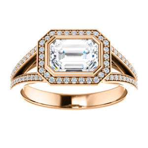 Cubic Zirconia Engagement Ring- The Kay Adaira (Customizable Bezel-set Radiant Cut with Halo and Split-Pavé Band)