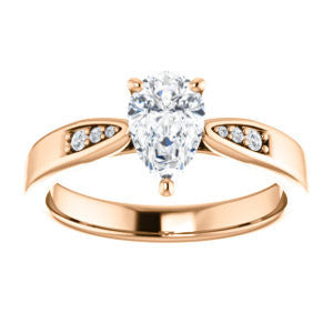 Cubic Zirconia Engagement Ring- The Ximena (Customizable Cathedral-Set Pear Cut 7-stone Design)