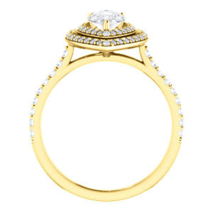Cubic Zirconia Engagement Ring- The Alisa (Customizable Pear Cut with Geometric Double Halo)