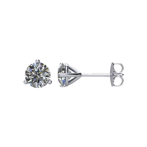 Cubic Zirconia Earrings-  Customizable 3 Prong Round CZ Stud Earring (single earring)