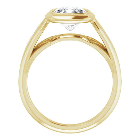 14K Rose Gold Customizable Bezel-set Cushion Cut Design with Wide Split Band & Tension-Channel Baguette Accents
