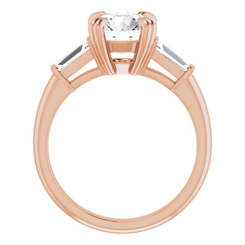 18K Rose Gold Customizable 3-stone Round Cut Design with Tapered Baguettes