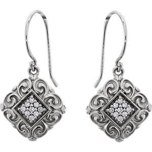 Cubic Zirconia Earrings- 0.18 Carat Intricate Sculptural-Inspired Dangle Earring Set