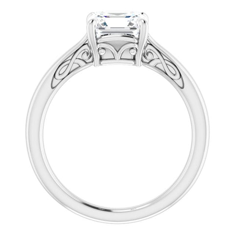 10K Rose Gold Customizable Asscher Cut Solitaire with 'Incomplete' Decorations