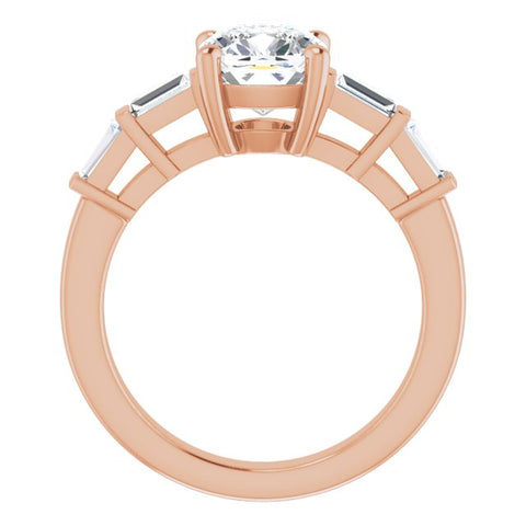 10K Rose Gold Customizable 9-stone Design with Cushion Cut Center and Round Bezel Accents