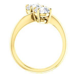 Cubic Zirconia Engagement Ring- The Patti (Customizable Round Cut 2-stone Bypass Style)