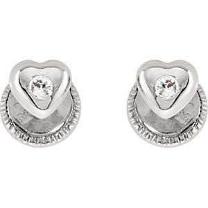 Cubic Zirconia Earrings- Youth Heart CZ with Safety Backs