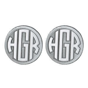 Men's Cufflinks- Customizable Monogram, Circle Style with Brushed Metal Design