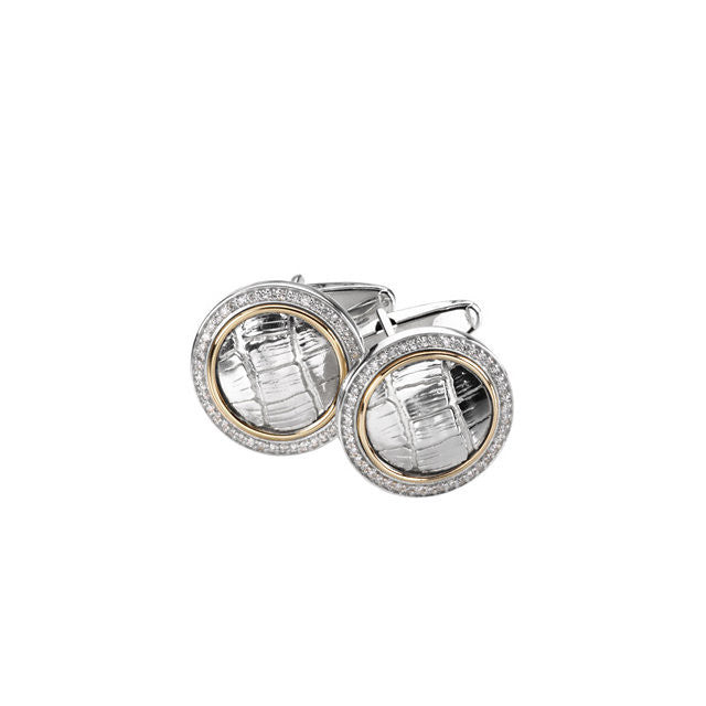 Men's Cufflinks- 0.5 TCW 92-stone Alligator Skin Two-Tone Design (Round)