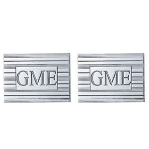 Men's Cufflinks- Customizable Monogram, Rectangular Style with Carved Block Letters and Horizontal Ridged Motif