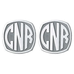 Men's Cufflinks- Customizable Monogram, Badge Style with Impact Letters