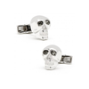 Men's Cufflinks- Sterling Silver Brilliant Eye Skull (set with black CZs for eyes)