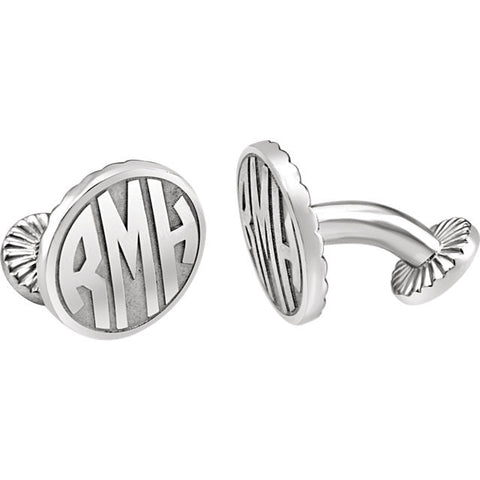 Men's Cufflinks- Personalizable Initials 3-Letter Fancy Block Monogram (16.5x16.5mm)