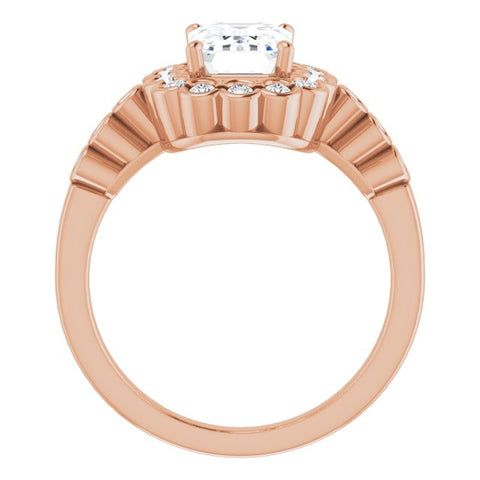 10K Rose Gold Customizable Emerald/Radiant Cut Design with Round-bezel Halo and Band Accents