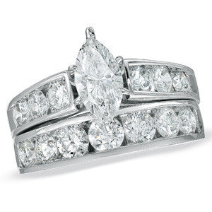 CZ Wedding Set, Style 12-95 feat The Jenny Mae Engagement Ring (Marquise Cut with Round Channel Setting)