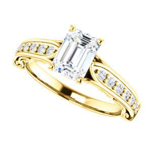 Cubic Zirconia Engagement Ring- The Martha (Customizable Emerald Cut Setting with Pavé Three-sided Band and Peekaboos)