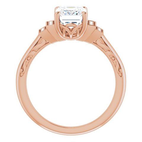 10K Rose Gold Customizable Engraved Design with Emerald/Radiant Cut Center and Perpendicular Band Accents
