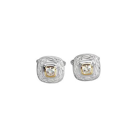 Men's Cufflinks- 6mm Antique Square CZ Each with Hand-Engraved Setting and Two-Tone Design