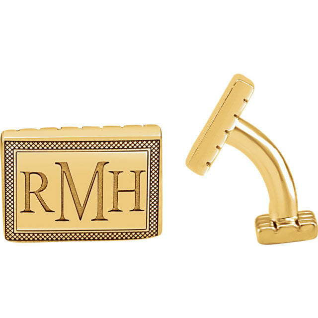 Men's Cufflinks- Personalizable Initials 3-Letter Serif Monogram (13x18 mm)