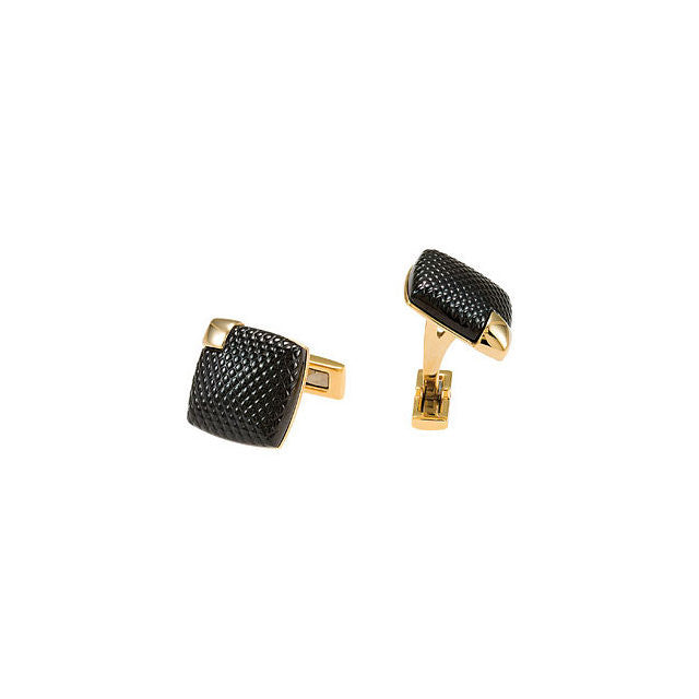 Men's Cufflinks- Stainless Steel with Black Pebbled Enamel and Small Yellow Gold Immerse Plated Accent