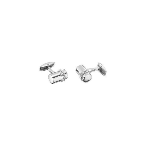 Men's Cufflinks- Stainless Steel with Sterling Silver Braided Rope Inlay