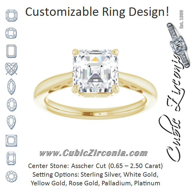 Cubic Zirconia Engagement Ring- The Abbey Ro (Customizable Asscher Cut Solitaire with 'Incomplete' Decorations)