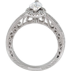 Cubic Zirconia Engagement Ring- The ________ Naming Rights 69-831 (0.91 Carat Marquise-cut Halo Style)