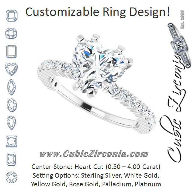 Cubic Zirconia Engagement Ring- The Thea (Customizable 6-prong Heart Cut Design with Thin, Stackable Pavé Band)