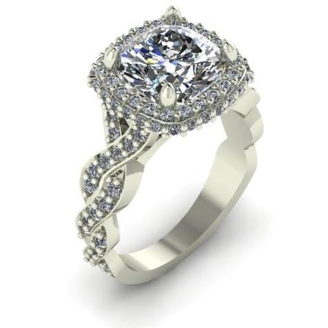 *Clearance* Cubic Zirconia Engagement Ring- 4.15 TCW Celebrity Replica Ring in 10K White Gold